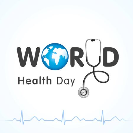 World health day lettering and heartbeat design banner. Globe in text and normal cardiogram as a concept poster for World Health Day, April 7th. Vector illustration