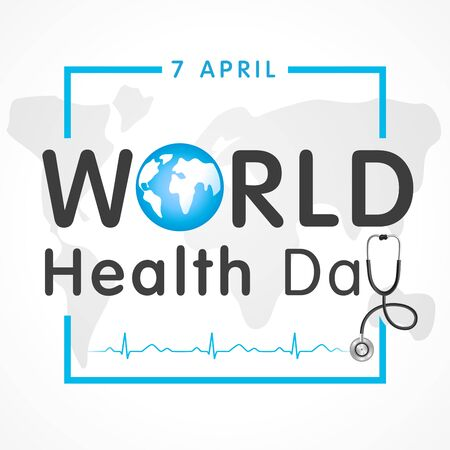 Vector Illustration of World health day concept text design with doctor stethoscope. Globe in text and normal cardiogram for poster on World Health Day, April 7