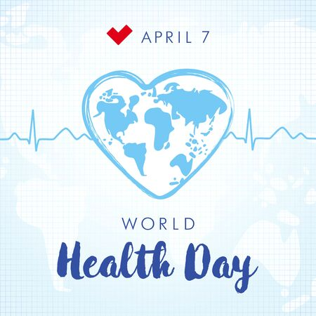 World health day 7 April lettering and heartbeat square banner. World map in heart brush stroke frame the normal cardiogram. Isolated abstract graphic design template. Creative medical blue background