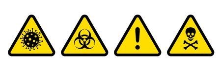 Pandemic danger symbol icons Coronavirus outbreak covid-19. Coronavirus, biohazard, general warning and toxic sign. 2019-nCoV symptom. Vector caution icon