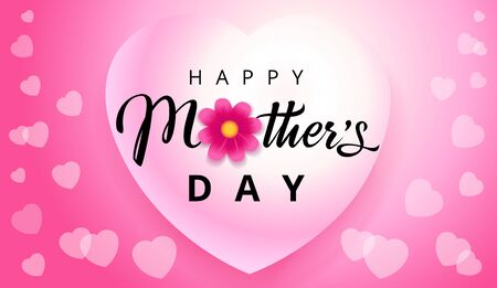 Happy Mothers Day elegant text, hearts flying on pink background. Vector typography for Mother's day wallpaper or sale shopping special offer banner. Best mom ever greeting card