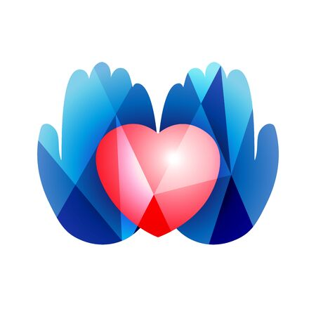 Heart in hands icon concept. Creative sign in stained glass style. Human palms and 3D heart shape. Abstract isolated graphic design template. Icon idea in red and blue colors. White background.