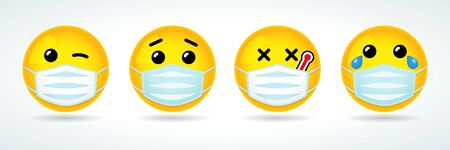 Emoji with guard mouth mask. Yellow smiley face with wink, sick, crying and surprised emoticon wearing a white surgical mask. Vector icon