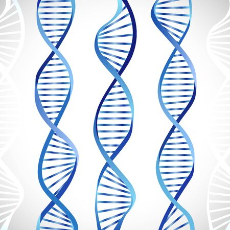 Creative metallic DNA symbol. Blue color image, scheme of DNA molecule. GMO logotype concept. Pattern of genes. Shiny DNA chain. Isolated abstract graphic design template. Medical background.