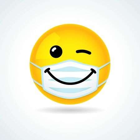 Emoji smile face with guard mouth mask. Yellow winking emoticon wearing a white surgical mask. Vector wink icon Vektorové ilustrace