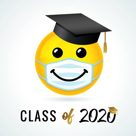 Class of 2020 with emoji smile in academic cap & medical mask. Yellow smiling emoticon wearing a white surgical mask. Vector joy icon Ilustración de vector