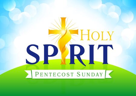 Holy Spirit Pentecost Sunday vector greetings. Invite or greeting card. Fiery flaming shining glowing crucifix gold colored in morning sunrise. Christian religious flier. Trinity holiday celebrating