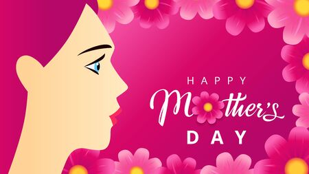 Happy Mothers Day text, woman on pink beautiful flowers background. Vector typography for Mother's day wallpaper or sale special offer banner. Best mom ever greeting card Illustration