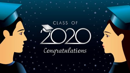 Class of 2020 Congratulations, students in academic hat. Lettering template background for graduation design, party, high school or college graduate. Vector illustration