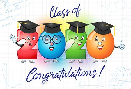 Class of 2020 year graduation banner, awards concept. Cute colorful sign, happy holiday invitation card. Isolated abstract graphic design template. Funny bright digits, cartoon style, white background Ilustrace