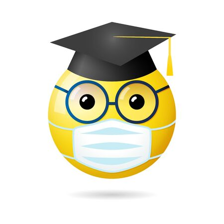 Creative graduation greeting card. Isolated abstract graphic web design template. State of Emergency, Social Distancing 3D sign. SARS 19 pandemic symbol. Funny messenger icon, glasses and academic hat Ilustrace