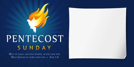 Pentecost Sunday poster with dove Holy Spirit in flame. Template invitation banner for Pentecost day with dove in tongues fire and text Acts 1: 8. Vector illustration Vector Illustratie