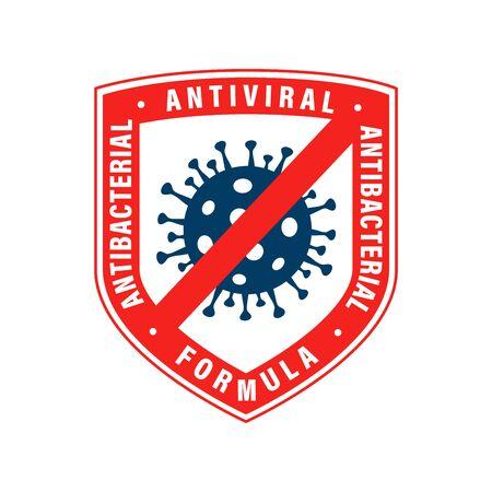 Antiviral antibacterial coronavirus formula vector shield icon. Coronavirus Covid-19 virus stop sign, health protection, hand sanitizer label