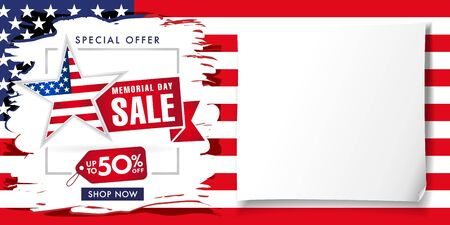 Memorial day USA brush paint poster, special offer sale up to -50% off. Happy Memorial Day background with typography on american flag and white paper. Vector illustration