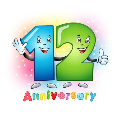 12 anniversary numbers. 12 years old logotype. Bright congrats. Isolated abstract graphic design template. Creative 1, 2 digits. 3D text. Up to 12%, -12% percent off discount. Congratulations concept. 向量圖像