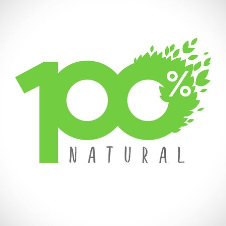 100 green numbers. 100% natural product logotype. Creative decorative sign, congratulation concept with leaves. Isolated abstract graphic design template. Herbal digits. 100 percent quality bio label Ilustrace