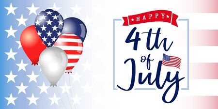 4th of july Independence day USA banner with balloons. Happy Independence Day background with typography on american flag and balloons. Vector illustration 矢量图像