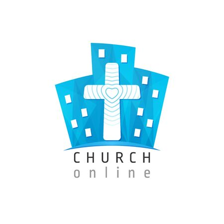 City and cross blue logotype concept. Stained glass logo idea. Religious creative 3D icon, christian education symbol. Internet church sign. Brand button. Isolated abstract graphic web design template 일러스트