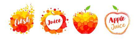Fresh juice apple, papaya, orange, mango label splash set design. Orange and yellow drops bubbly design on white background. Lime and lemon juice design, creative vector illustration
