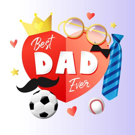 Best Dad ever, Happy Fathers Day card with paper heart, necktie, crown and glasses. Vector blue striped tie, mustache and paper text words on red heart for Father's day sale special offer banner