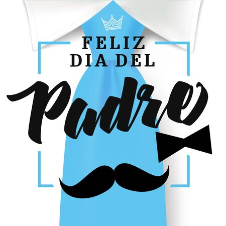 Happy fathers day typography on blue necktie with mustache and black bow tie Spanish version. Father`s day sale promotion banner. Vector illustration