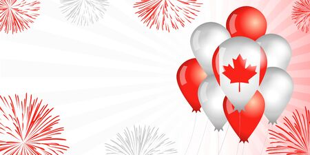 Canada Day balloons & flag background. Special offer sale from 1st of July, Happy Canada Day, weekend discount. Vector illustration for independence day banner Vectores