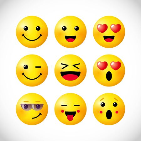Creative emoticon set. Isolated abstract graphic design template. Internet messenger app smile icons with 3D effects. Network vector signs, bright web collection. Cute yellow faces, fun style symbols.