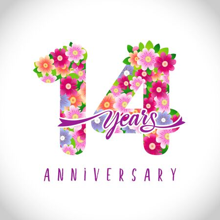 14 th anniversary numbers. 14 years old logotype. Floral pink congrats. Isolated abstract graphic design template. Cute creative holiday age digits, ribbon font. Up to 14%, -14% percent off discount