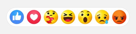 High quality yellow vector cartoon emoticons comment. Social media chat comment icon reactions template: like, love, care, smile, sad, face tear, Loll, wow or angry emoji. Laughter character message