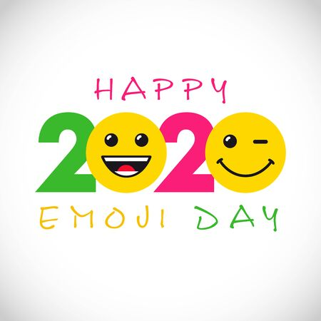 Happy emoji day creative congrats. Isolated abstract graphic design template. Internet messenger smile icons and 2020 bright web numbers. Network vector sign. Cute yellow faces, fun style symbol. Illustration