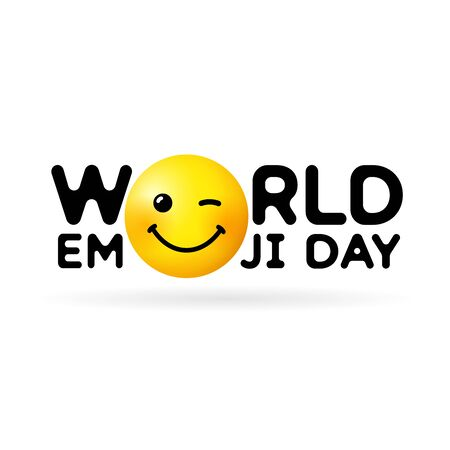 World Emoji Day vector template design illustration. Concept for Smile Day with wink in text. Line icon emoticon smiling illustration on white background