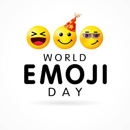 World Emoji Day vector illustration. Concept for Smile Day with happy, smiling icon in party hat & wink icons. Line emoticon illustration on white background Иллюстрация