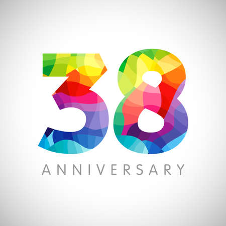 38th anniversary numbers. 38 years old logotype. Bright congrats. Isolated abstract graphic design template. Creative 3, 8 sign 3D digits. Up to 38%, -38% percent off discount. Congratulation concept