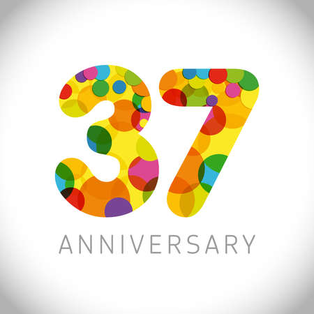 37 th anniversary numbers. 37 years old multicolored congrats. Cute congratulation concept. Isolated abstract graphic design template. Age digits. Up to 37%, -37% percent off discount. Decorative sign Ilustração