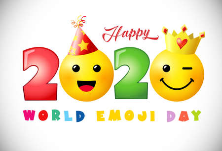 Happy world emoji day 2020 creative congrats. Isolated abstract graphic design template. Smile icons and 2020 bright numbers. Vector sign. Cute funny colorful symbol in 3D style. White background.