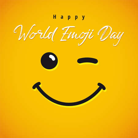 Happy World Emoji Day creative congrats. Isolated abstract graphic design template. Smile icon and text in brushing style. Vector sign. Cute funny yellow symbol. Square background.