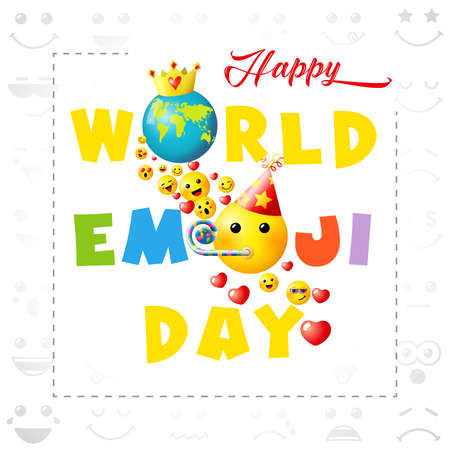 Happy world emoji day creative square congrats. Isolated abstract graphic design template. Smile icons and bright text. Vector sign. Cute funny colorful symbol in cartoon style. White background. 向量圖像