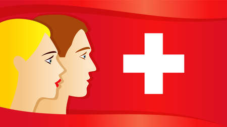 Swiss national day 1 August, patriotic girl and guy. Greeting card with people on Switzerland flag. Celebration Confederation Day, anniversary of Foundation date web banner