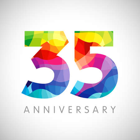 35th anniversary numbers. 35 years old logotype. Bright congrats. Isolated abstract graphic design template. Creative 3, 5 sign 3D digits. Up to 35%, -35% percent off discount. Congratulation concept.