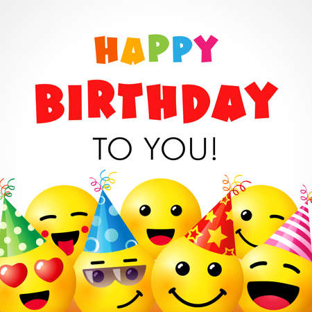 Happy birthday to you vector design with smile emoticon icons wearing birthday hat and text for party and celebration. Vector illustration