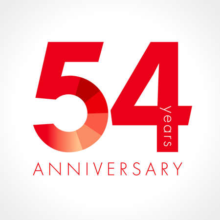 54th years anniversary red chart numbers. 54 flat bright congrats isolated graphic design template. Creative 5, 4 sign digits. Up to 54%, -54% percent off discount. Congratulation concept