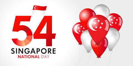 54 years Singapore National Day lettering August 9th, balloons and flags. Happy Singapore's independence day celebration republic vector illustration, graphic for tourism banner design 矢量图像