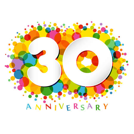 30 th anniversary numbers. 30 years old colored congrats. Cute congratulation concept. Isolated abstract graphic design template. White digits. Up to 30%, -30% percent off discount. Decorative sign.