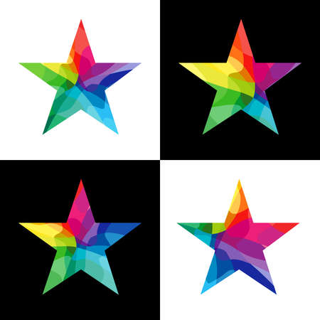 Stars shape logotype set. Isolated abstract graphic design template. Stained glass colored texture. Decorative shiny signs, colorful collection. Cup elements. Creative bright congratulation symbols.