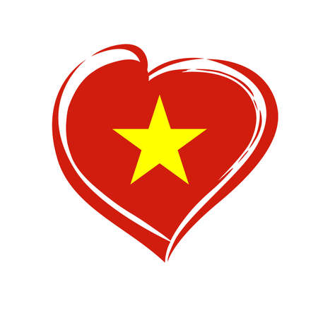 Love Vietnam emblem colored. Independence day of Vietnam vector background red heart in national Vietnamese flag colors