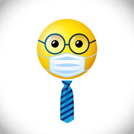 Businessman with medical mask emoji icon. Happy world day creative congrats. Isolated abstract graphic design template. Smile sign. Cute yellow symbol in 3D cartoon style. Prevention of Corona virus.
