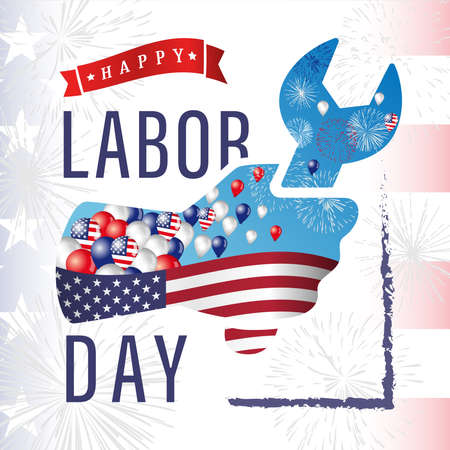 Happy Labor Day USA creative square banner. Isolated abstract graphic design template. Red, blue, white colors. Decorative calligraphy, colorful congrats. Flag background. Workers wrench in the palm. Illusztráció