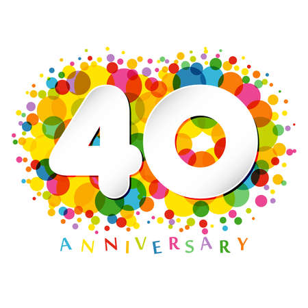 40 th anniversary numbers. 40 years old colored congrats. Cute congratulation concept. Isolated abstract graphic design template. White digits. Up to 40%, -40% percent off discount. Decorative sign.