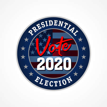 USA presidential election vote 2020, star emblem. Election day with American flag. US presidential debate, voting badge vector template Çizim