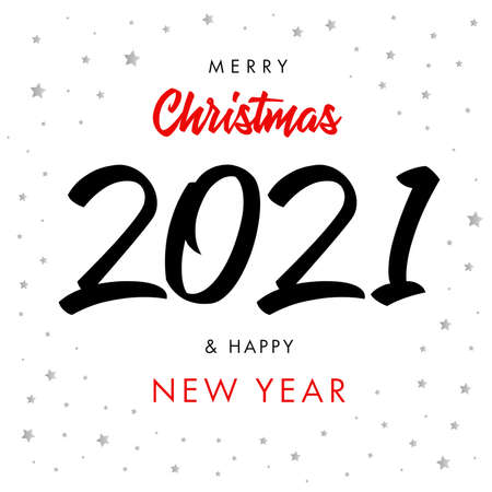 2021 Happy New Year script text hand lettering. Design template Celebration typography poster, banner or greeting card for Merry Christmas and happy new year. Vector Illustration Çizim